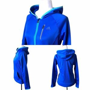 ADIDAS Blue Zip up Hoodie with Aqua Accents